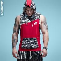 Aimpact hombres camuflaje patchwork Tank Top con capucha sin mangas CrossFit bodybuilding entrenamiento fitness muscular corte masculino tanque AM1010