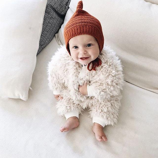Calidad superior de Las Ovejas de peluche Otoño/Invierno Nuevos Niños Del Bebé de Una sola pieza de Ropa Chaqueta de Ropa de Bebé Recién Nacido ropa de escalada