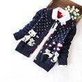Ropa de los niños niñas suéter cardigan infantil otoño prendas de vestir exteriores de los bebés 100% algodón suéter básico