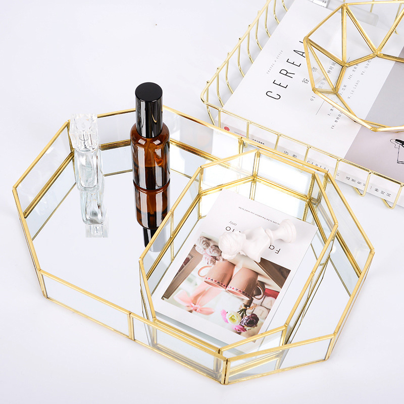 Nordic Style Glass Copper Geometry Storage Box Simplicity style Home Organizer For Jewelry Necklace