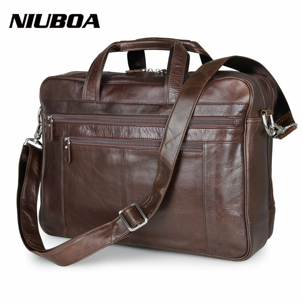 NIUBOA 100% Genuine Leather Shoulder Bag High Quality Men Briefcase Handbag Euro Cowhide Business Messenger Bags 17 Laptop Bags high quality vintage genuine leather briefcase men cowhide 14 laptop bag portfolio messenger bags for macbook for ipad