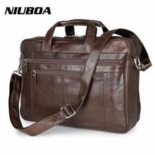 NIUBOA 100% Genuine Leather Shoulder Bag High Quality Men Briefcase Handbag Euro Cowhide Business Messenger Bags 17″ Laptop Bags