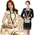 S-3XL Korean New OL Graceful Fashion Professional Set Dress Occupational  women's Suits  Blazer +Sleeveless Dresses Beige Black
