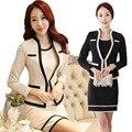 S-3XL de Corea Nueva OL Elegante Conjunto Profesional de la Manera Vestido de las mujeres En el Trabajo Trajes Chaqueta + Vestidos Sin Mangas de Color Beige Negro