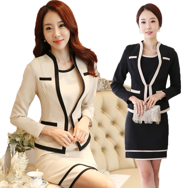 S-3xl coreano New OL graciosa Fashion Set profissional vestido ocupacional das mulheres ternos Blazer + vestidos sem mangas bege preto