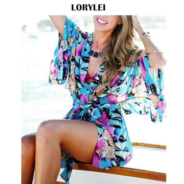 1f1d40f4955 2019 Bohemian Multicolored Butterfly Printed Beach Tunic Chiffon Mini Wrap  Dress Sexy Sheer Women Summer Pool Party Dress Q572