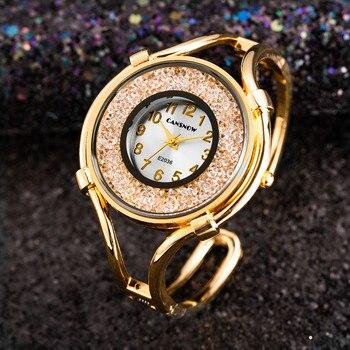 86edce437566 Pulsera de cristal de lujo de brazalete relojes para mujeres de las señoras  de moda reloj de mujer Casual reloj de mujer y Niña reloj Bayan Kol Saati  2019