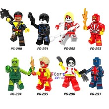 Single Super Hero DC Comics Forge Pyro Domino Radioactive Man Union Jack Omega Figure building blocks toys for children(China)