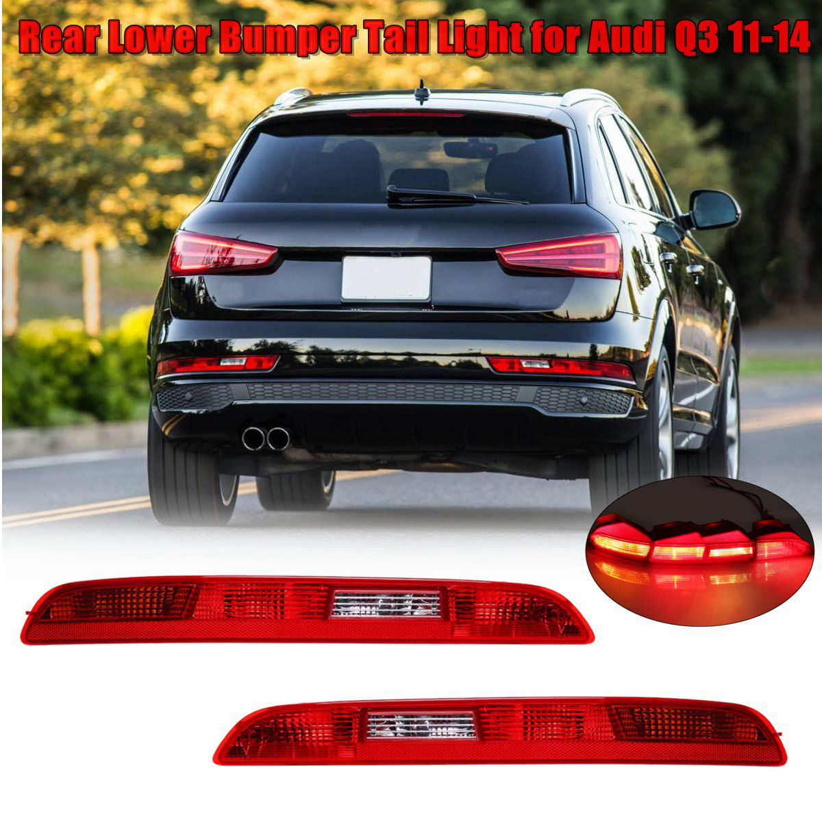 New Left/Right Car Rear Side Lower Bumper Fog Lamps Tail Light Red Reverse Brake Halogen Auto Lower For AUDI Q3 2011~2014