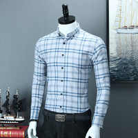 Men's Brushed Plaid Striped Design Button Down Dress Shirt Smart Casual Slim Fit Long-sleeve 100% Cotton Office Gingham Shirts