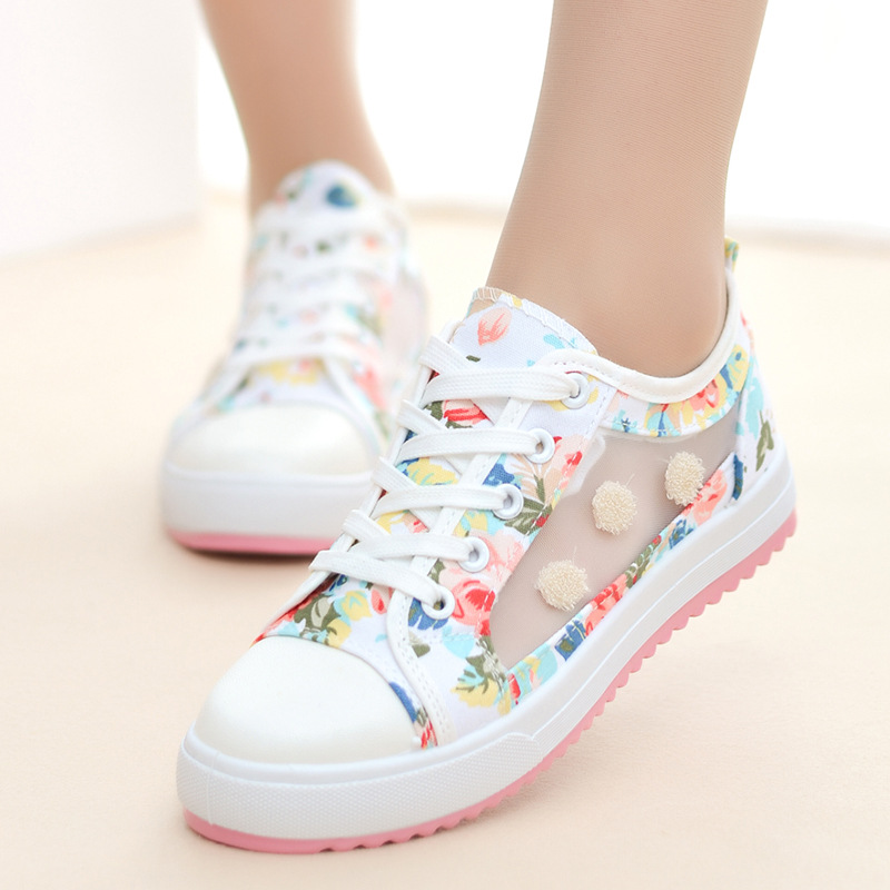 Women Sneakers Lace-up Platform Shoes Woman Canvas Casual Shoes Flower Printed Walking Women Sneakers  Zapatos Leopardo Mujer