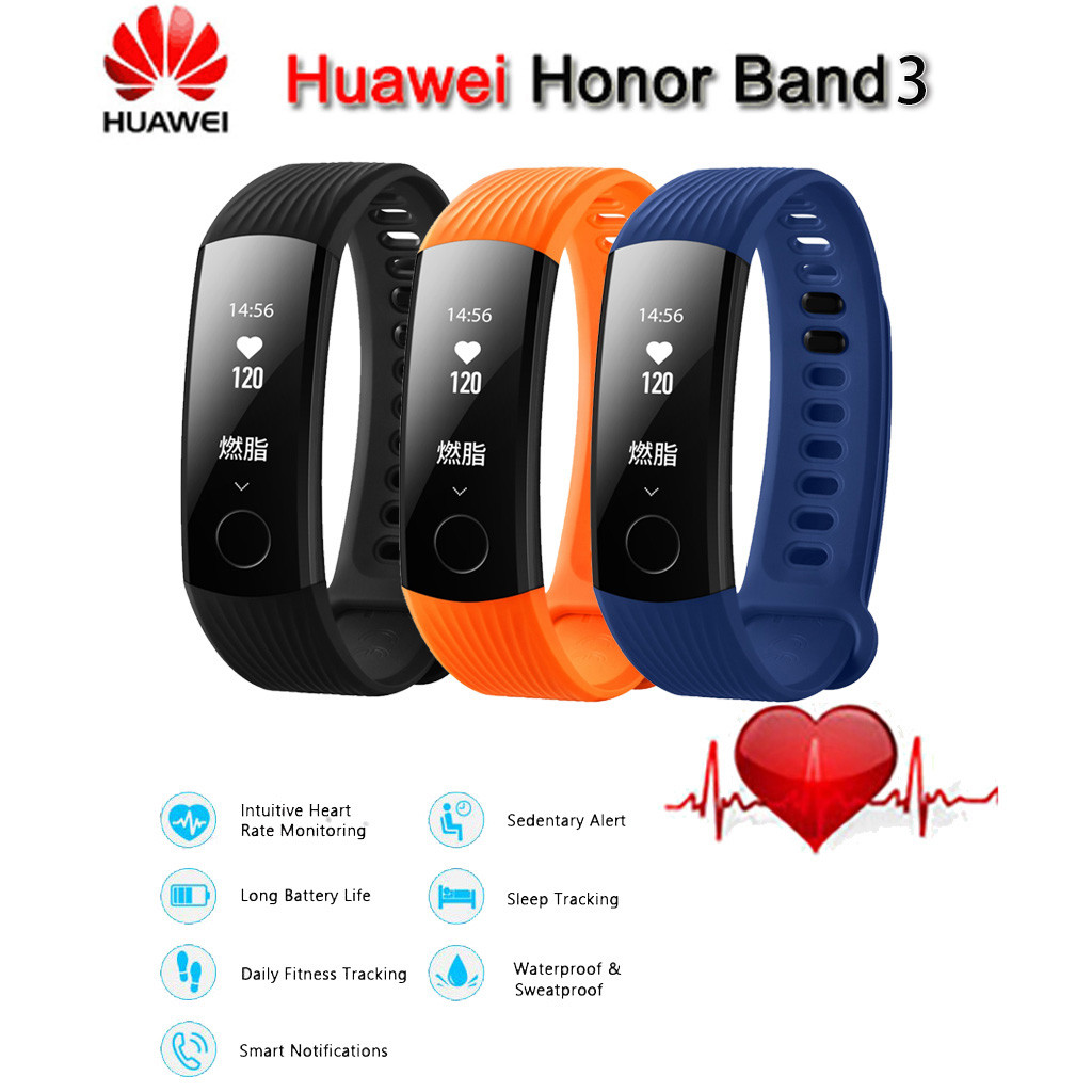 Huawei Honor Band 3 Smart Wristband Bracelet Original  Swimmable 5ATM 0.91 OLED Screen Touchpad Heart Rate Monitor Push MessageHuawei Honor Band 3 Smart Wristband Bracelet Original  Swimmable 5ATM 0.91 OLED Screen Touchpad Heart Rate Monitor Push Message