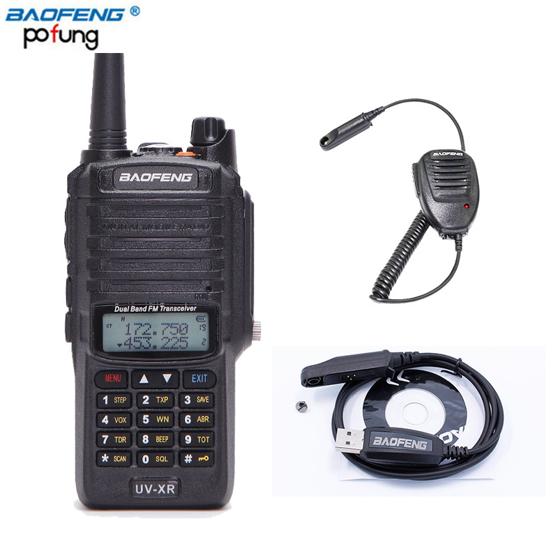 Baofeng UV-XR 10W High Power 4800mAh WaterProof Dual Band Walkie Talkie Two Way Radio+One Speaker Mic+One Programming Cable