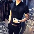 2017 лето рубашка с короткими рукавами Тонкий комбинезоны платья мужчины тенденция ночной клуб КТВ обслуживание сотрудников баров рабочая одежда