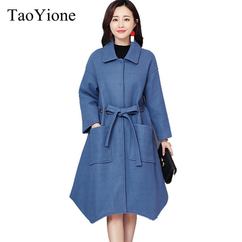 Elegant Women Winter Wool Blend Coat Autumn Winter Long Wool Coat and Jacket Solid Loose Belt