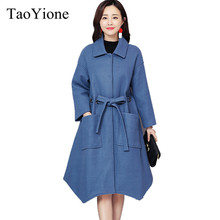 213c537bf0 Elegancki wełniana damska zimowa mieszanka płaszcz jesień zima długie  wełniane płaszcz i kurtka stałe luźny pas