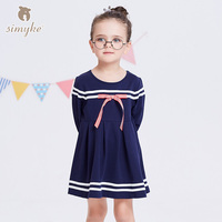 Simyke Kids Dress For Girl With Long Sleeve 2018 Spring Girls Casual Navy Dresses Kids Clothing