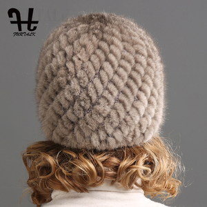 Image 4 - FURTALK ミンクの毛皮の帽子帽子女性の冬のニット毛皮の帽子ロシア女性の高級ブランドの自然毛皮キャップ冬帽子女性 2020