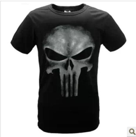 Free shipping New Fashion Skull t-shirt the punisher slim black two-color print O-Neck short sleeve Tops Tees