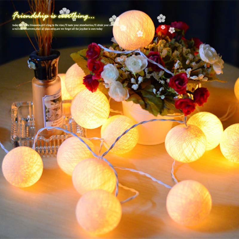 2m 20 Beige LED Cotton Ball Light 3AA Battery Operated String Christmas Fairy Lights Banquet Home Party Wedding Decoration