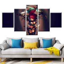 5 Panel LOL League of Legends Death Rogue Game Canvas Printed Painting For Living Room Wall Art Decor HD Picture Artworks Poster