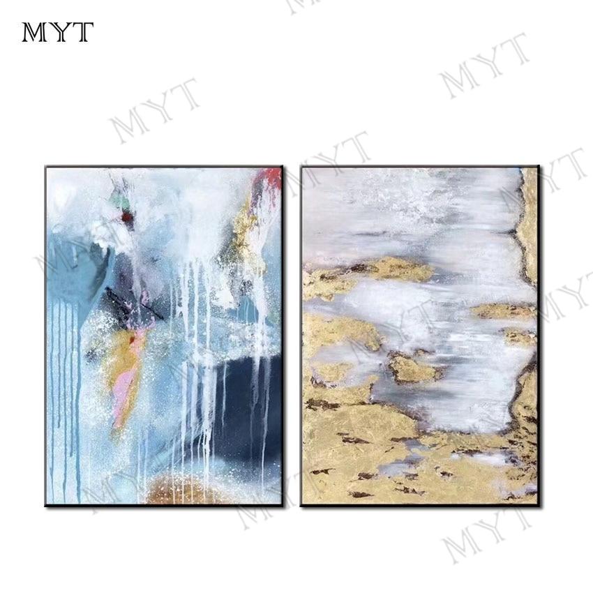 MYT شحن مجاني 2 أجزاء جدار الفن النفط اللوحة لتزيين الجدران رسمت باليد راقصة الباليه النفط اللوحة على قماش الصور-في الرسم والخط من المنزل والحديقة على  مجموعة 1