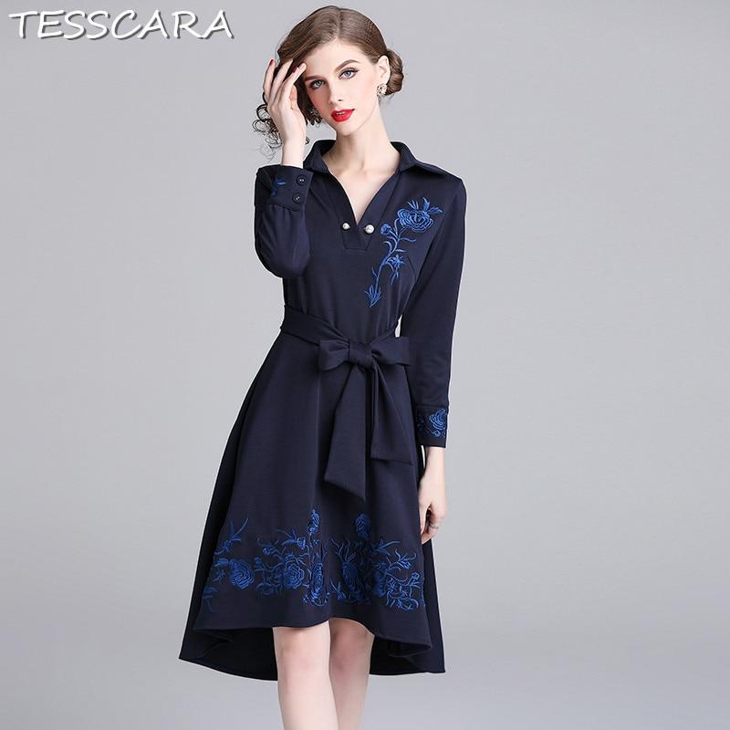 09c41d8dfa9dd5 Designer Robe Tesscara Bureau Femelle Femme Haute Robes D'hiver ...