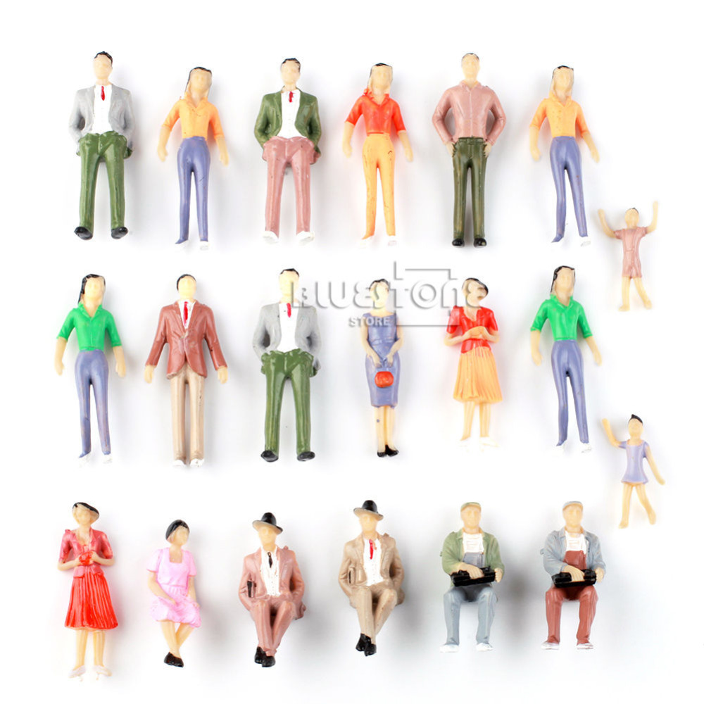 20pcs Painted Model Passenger People Figures Train Diorama Scenery 1:30 G Scale