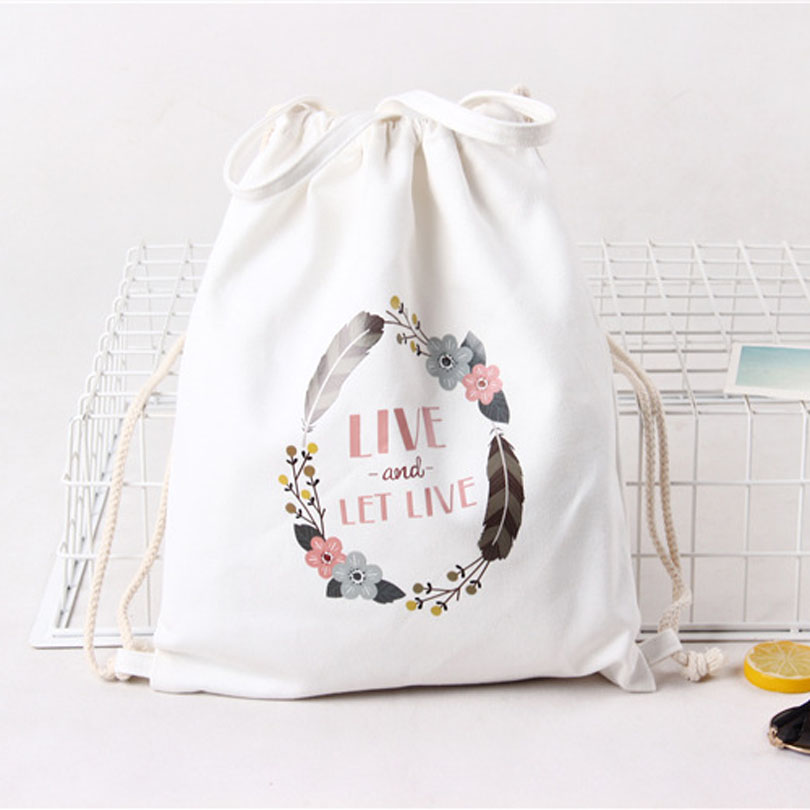 White Drawstring Bag Backpacks For Teenage Girls Fashion Women Cute Animal Print Rucksack Travel Softback String Pouch Sack Bags #1