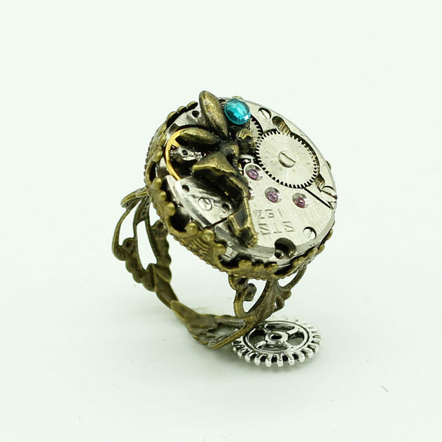 2fe39ddb8d0 Venda quente vapor Punk anel movimento de relógio mecânico Steampunk fresco  anéis de anjo para mulheres