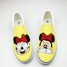 b406b7a95 Independente do Projeto Harajuku Anime Mulheres Plana Sapatos Verão  Correspondência de Mão-Pintado Sapatas de Lona Menina Calçad.