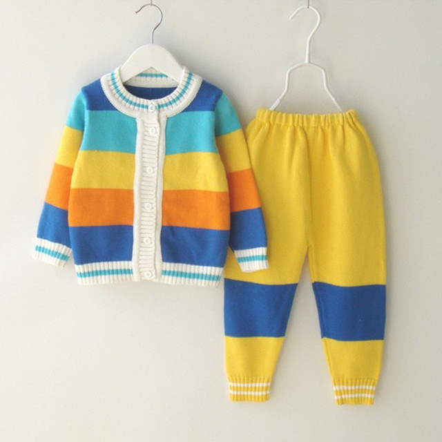 19-24M baby infant girls rainbow striped knitted sweater tops with knitted pants sets toddler girl colorblock 2 pieces sets
