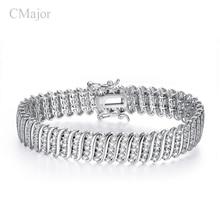 CMajor New sterling silver jewelry bracelets for women men s fashion cubic zircon prong setting bracelets