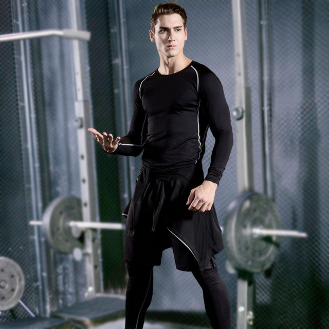 Men's Compression Sportswear Suits Gym Tights Training Clothes Workout Jogging Sports Set Running Tracksuit Quick Dry Plus Size 2