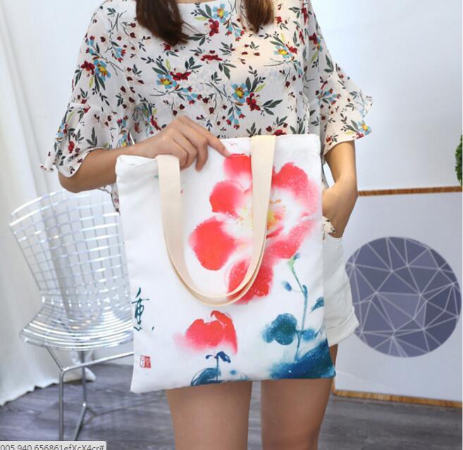 2018 New Ethnic Style Canvas Lady's <font><b>Handbag</b></font> Big Shoulder Bag Hand-painted Fresh and Beautiful <font><b>Orchid</b></font> Pattern