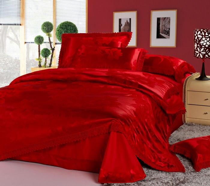 couvre lit satin mariage Luxe chinois de mariage ensemble de literie rouge jacquard  couvre lit satin mariage