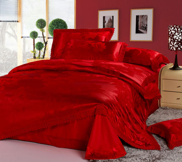 Superior Luxury Chinese Wedding Bedding Set Red Jacquard Lace Queen Quilt Duvet  Cover King Size Bed In