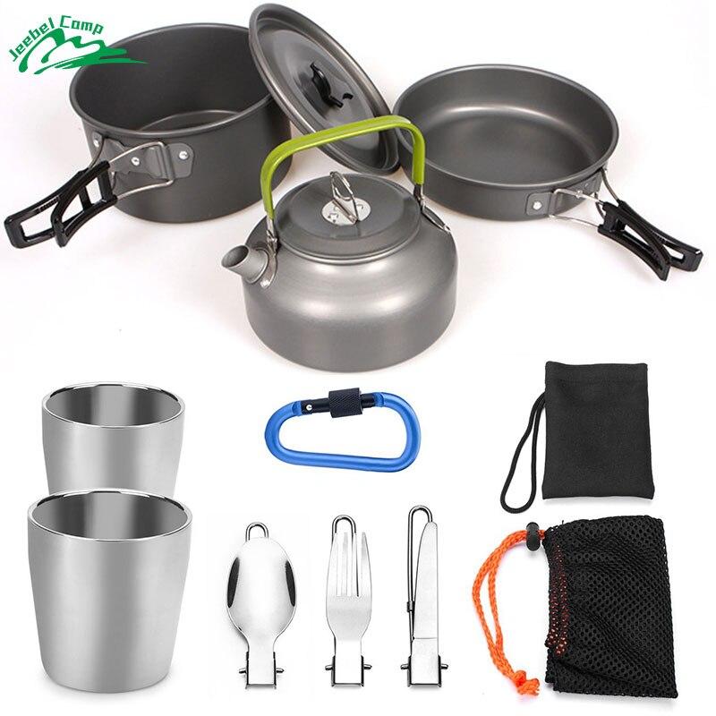 Jeebel 10 pcs Camping batterie de Cuisine Pot Pan Bouilloire avec 2 Tasses Couteau Fourchette Cuillère Kit pour Randonnée En Plein Air Camping Randonnée et Pique-Nique