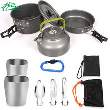 Jeebel 10pcs Camping Cookware Pot Pan Kettle with 2 Cups Fork Knife Spoon Kit for Backpacking Outdoor Camping Hiking and Picnic(China)