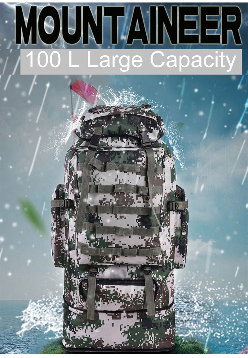 Scione 100L Military Molle Bag Camping Tactical Backpack