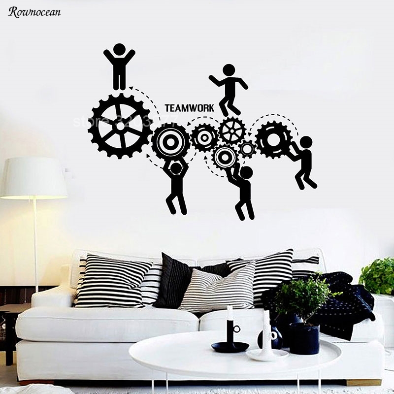 Teamwork Words Gear Wall Decals Office Motivation Worker Wall Stickers Self-Adhesive Wall Decor Removable Wallpaper Mural H551