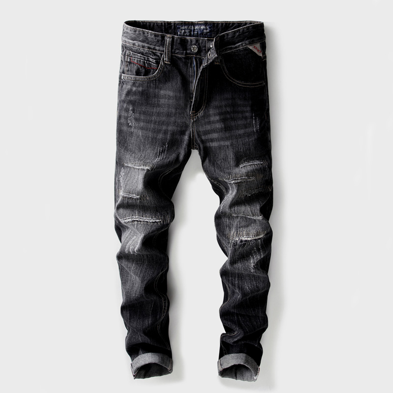 2018 Fashion Classical Mens Jeans Black Color Slim Fit Ripped Jeans Patch Pants Cotton Hip Hop Trousers Brand Biker Jeans Homme