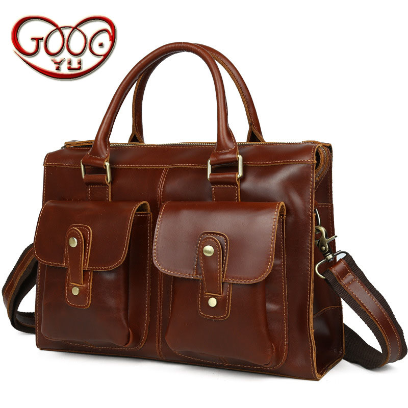 Europe and the United States British retro men's leather shoulder bag handbag horizontal large capacity business briefcases