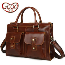 Europe and the United States British retro men s leather shoulder bag handbag horizontal large capacity