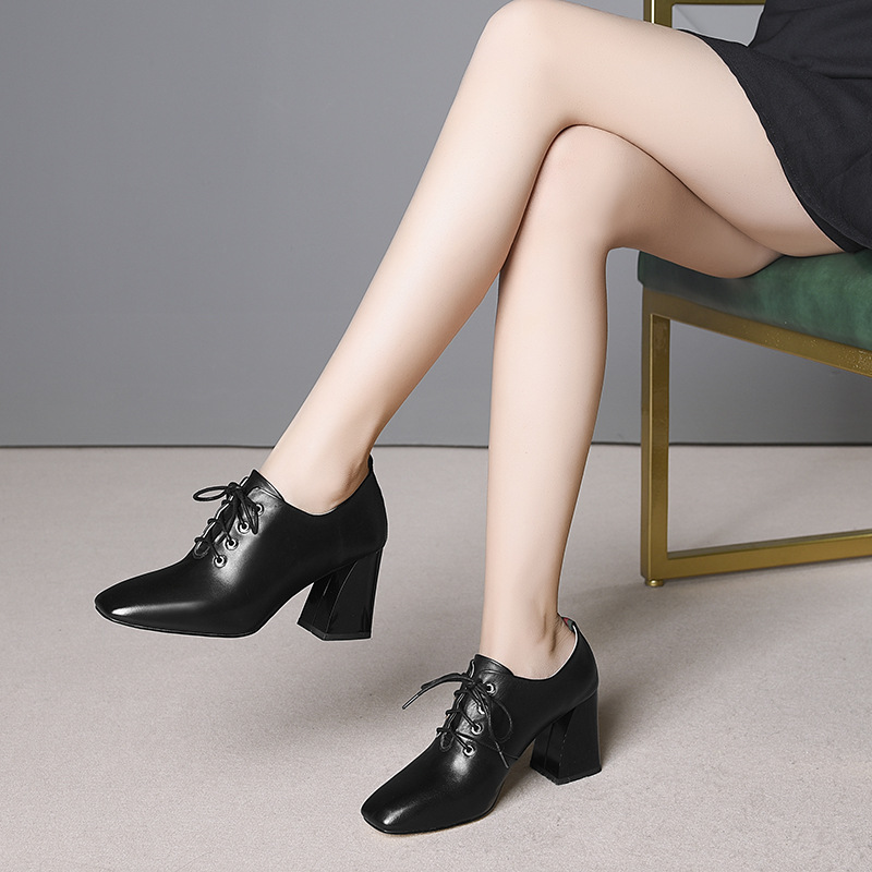 2019 Simple and elegant brand name full leather women 39 s single shoes square head tie commuter thick with wild high heels women in Women 39 s Pumps from Shoes