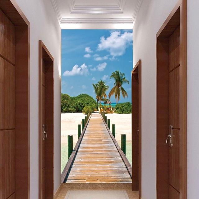 grand mural porte de couloir chambre all e fond papier. Black Bedroom Furniture Sets. Home Design Ideas