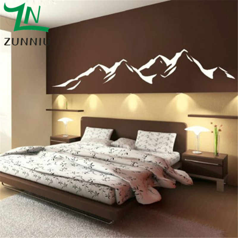 K021 Mountains Large size wall background decoration stickers mountain Removable Vinyl Decal Art Wall Sticker for Home Decor
