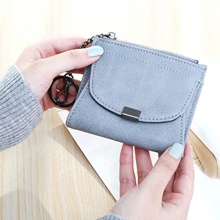 Fashion Women PU Leather Mini Grin Short Wallet Coin Purse Card Holders  Zipper Wallet Purse Square Short Bag Fashion # CC-in Wallets from Luggage &