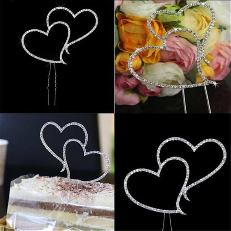 Silver Double Heart Cake Topper