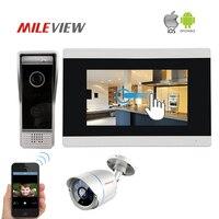 Бесплатная доставка 720 P IP WI FI 7 Сенсорный экран видео домофон запись монитор Комплект для телефона 1.0MP IP пуля CCTV Камера